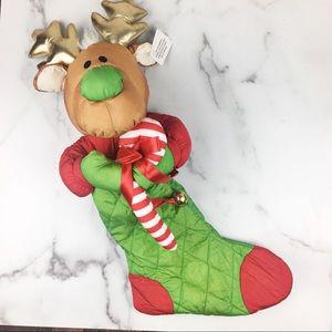 NWT Moose Deer Stocking Door Hanger w/Jingle Bells